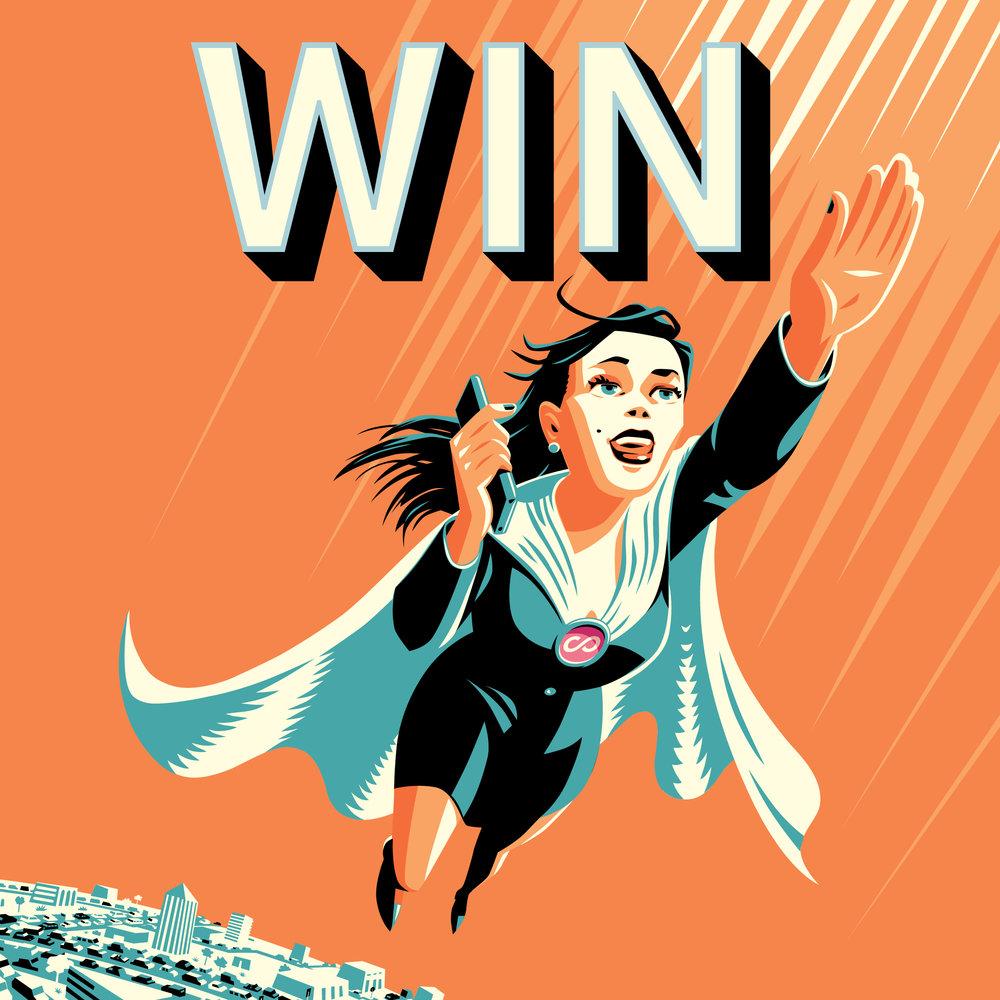 Web Tile - Hero girl 'Win' -