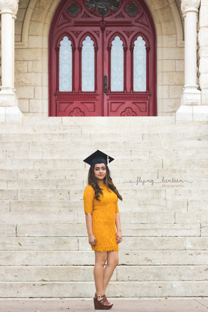 st. edward's university graduate in front of Main Building