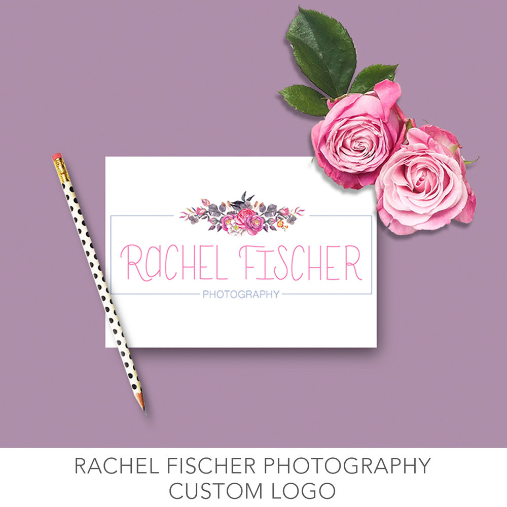 Rachel ficher photography custom logo and business card design