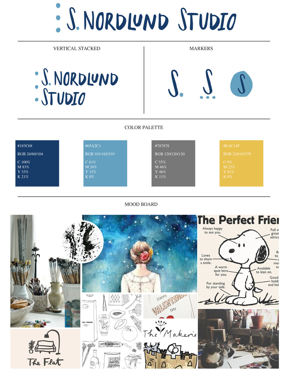 s. nordlund studio brand board with main logo, alternative logos, color palette, and mood board