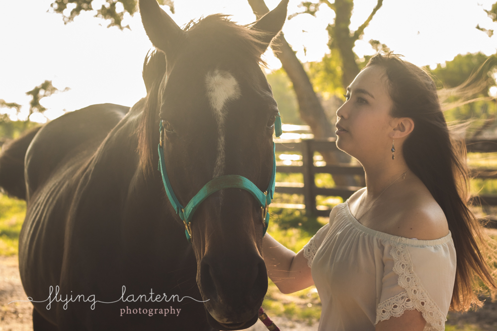 st. edward's university senior putting horse with sunset in back