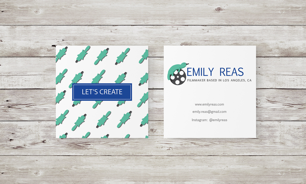 Emily Reas Square Business Card Design
