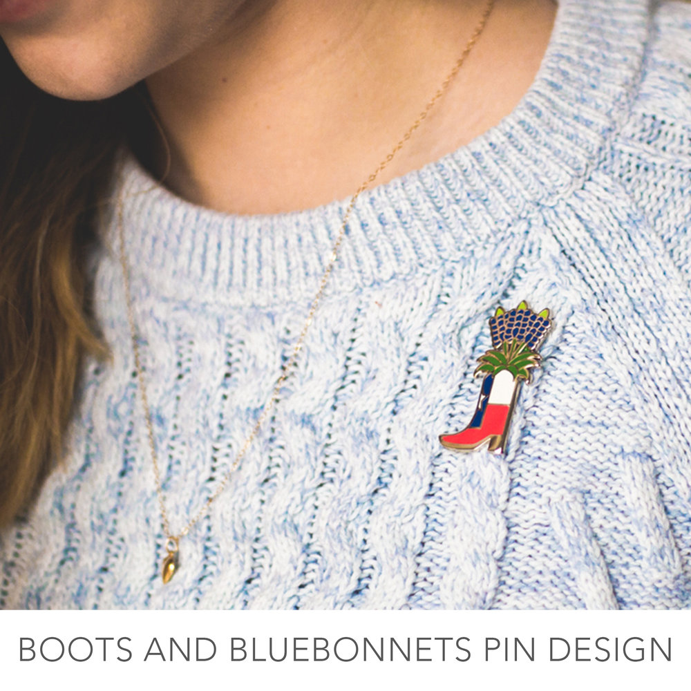 Boots and Bluebonnets Enamel Pin to help with Harvey relief Efforts