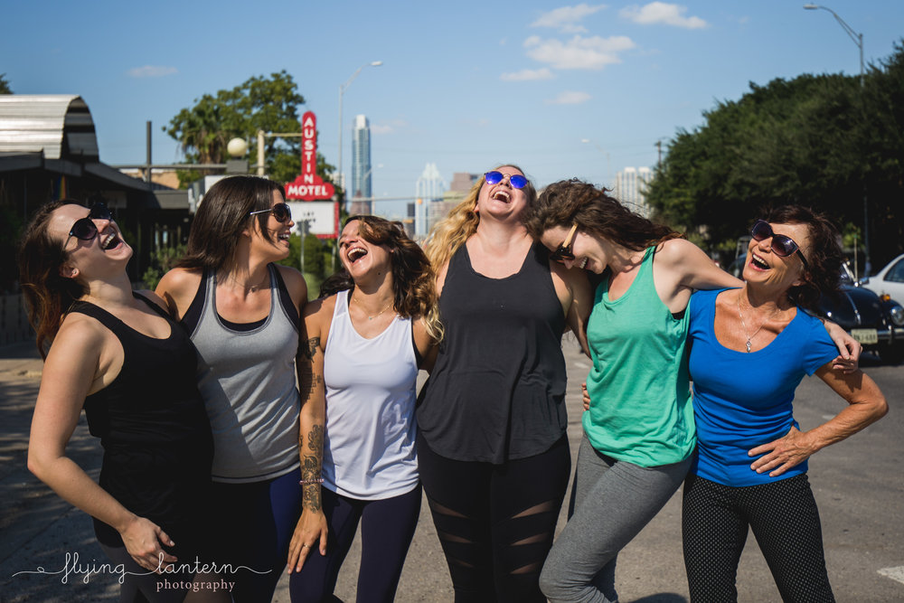 lifestyle branding photography group photo for todd pilates and barre local austin business in austin texas by erin reas of flying lantern photography