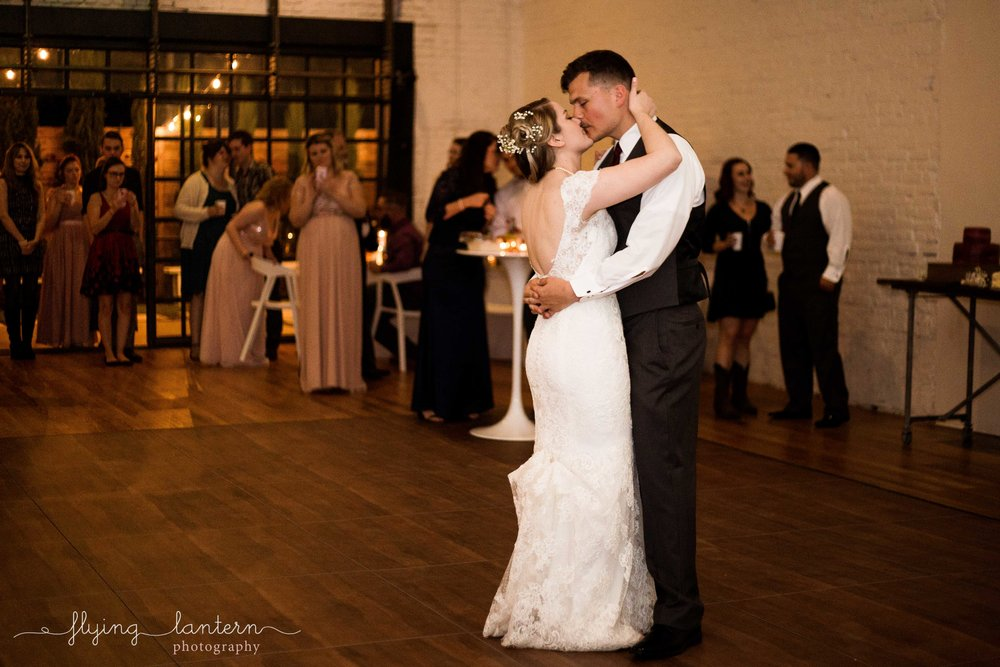 bride and groom first dance at one eleven east wedding photography by erin reas of flying lantern photography