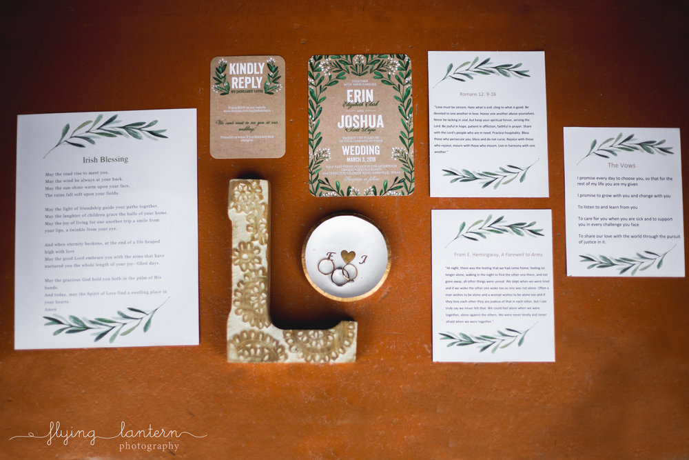 wedding stationary and details at ranch house wedding in austin, texas by erin reas of flying lantern photography
