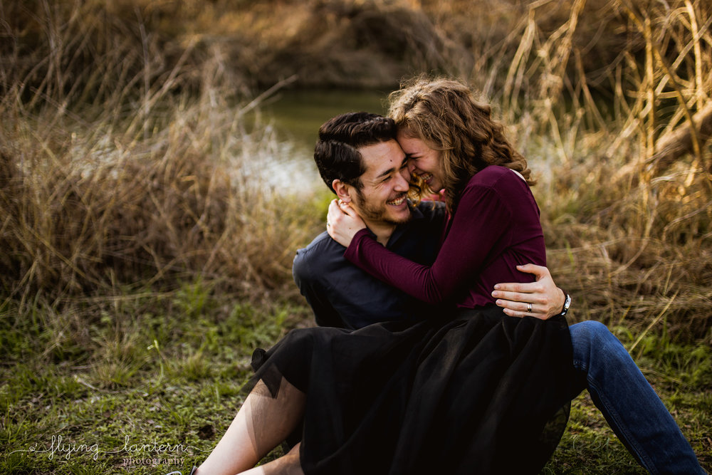 couple engagement portrait at mckinney falls state park in austin, Texas by erin Reas of Flying Lantern Photography