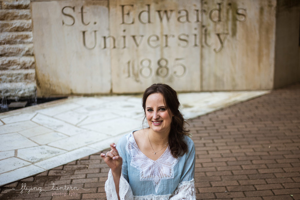 girl Senior Portrait at st. edward's university by erin reas of flying lantern photography