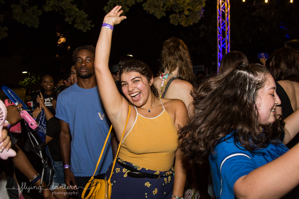 St. Edward's University Hillfest student dancing to dj. By Erin reas of flying lantern photography event photographer in austin, tx