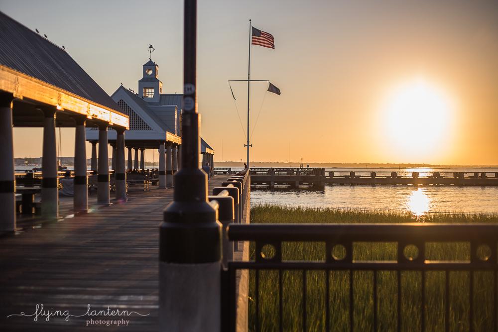 Waterfront Park Dock at Sunrise in Charleston, South Carolina