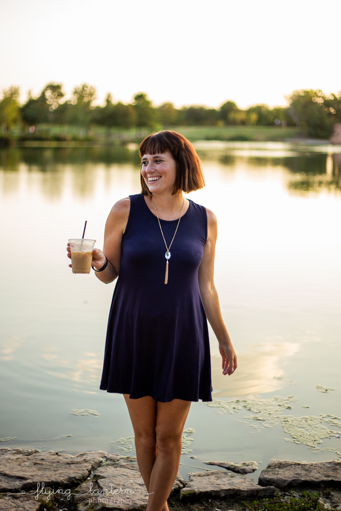 Austin blogger at mueller lake park lifestyle headhot holding coffee photography by Erin Reas of Flying Lantern Photography