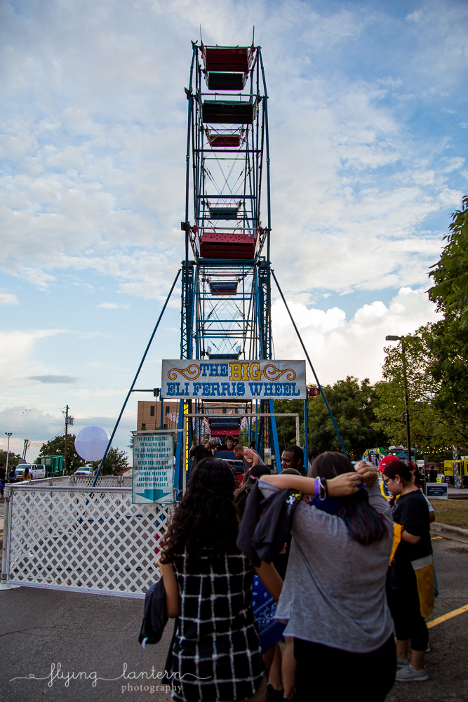 Ferris wheel at Hillfest 2018 on St. Edward's University campus. Event photography by Erin Reas of Flying Lantern Photography