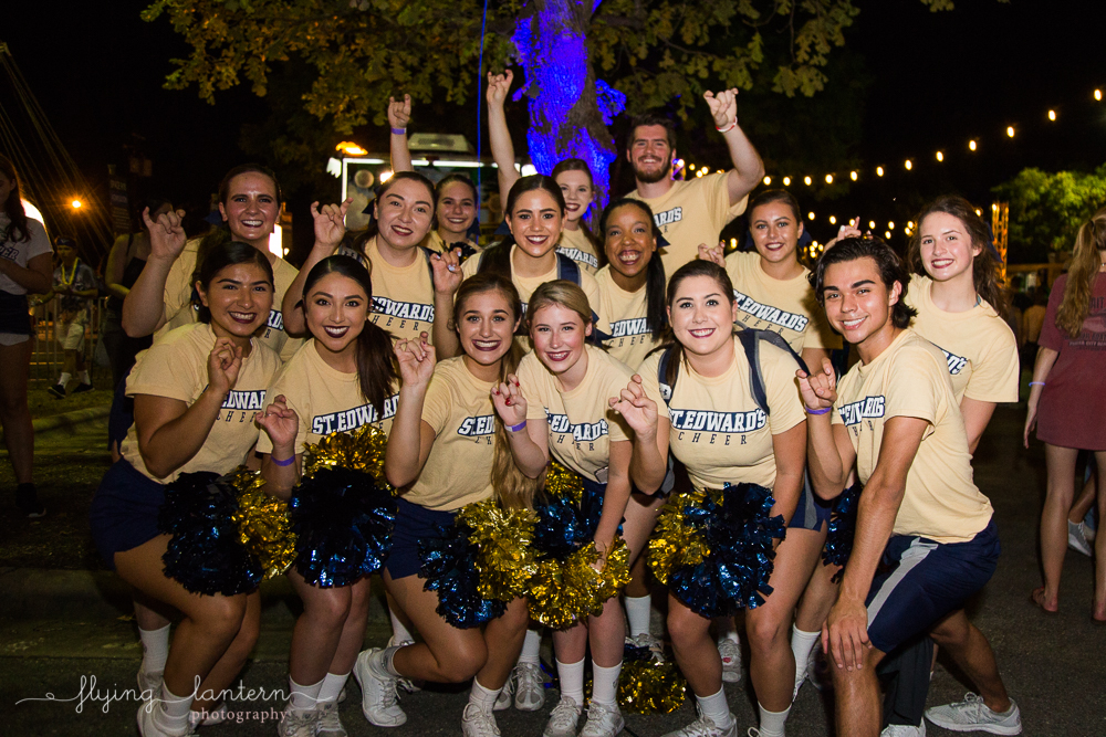Cheer team at Hillfest 2018 on St. Edward's University campus. Event photography by Erin Reas of Flying Lantern Photography