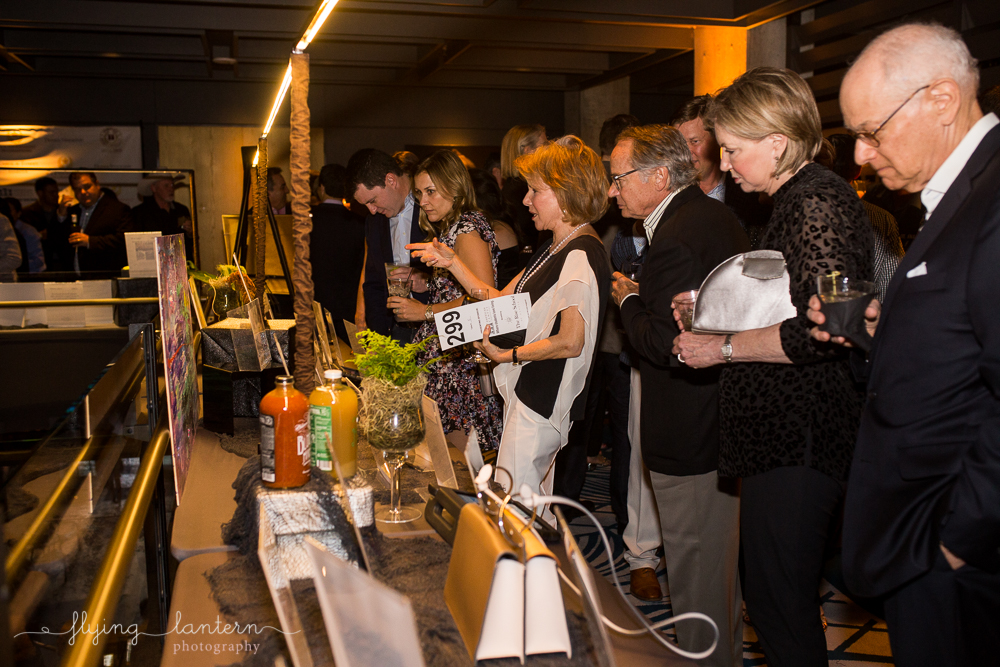 guests browsing silent auction at travel the vine event. event photography by erin reas of flying lantern photography
