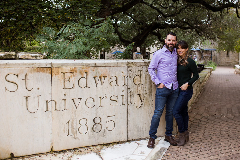 Couples portrait at St. Edward's University by Erin Reas of Flying Lantern Photography