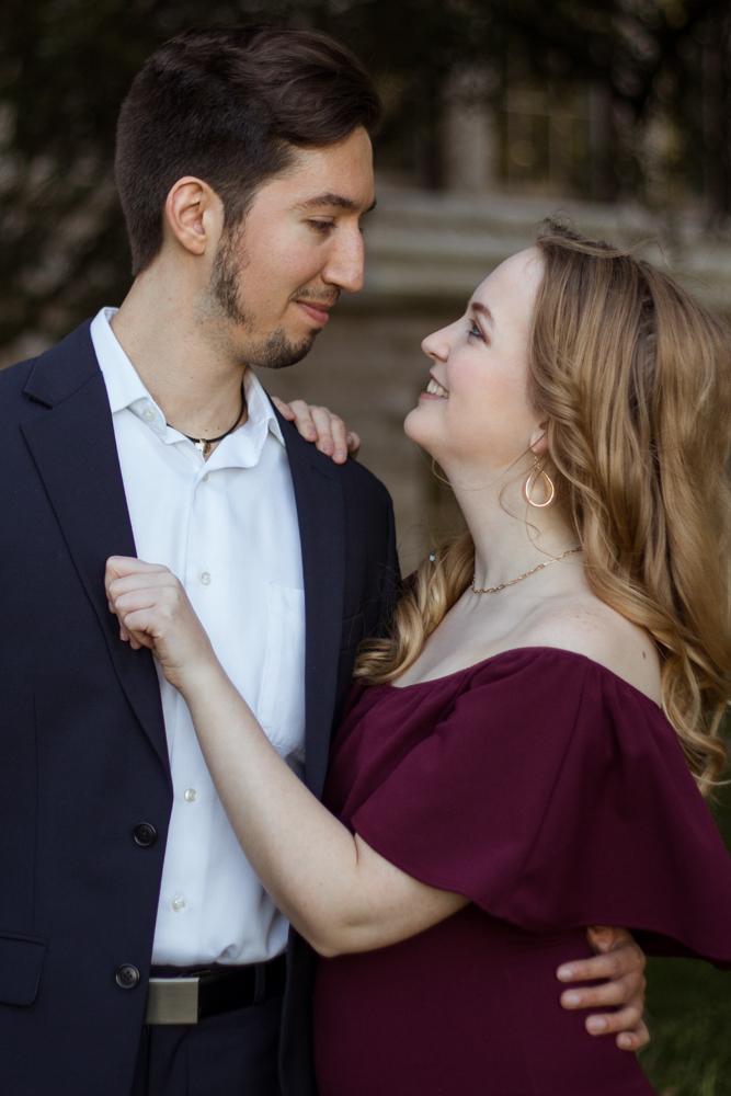 St. Edward's University couple portrait on campus. Portrait by Erin Reas Austin, TX photographer