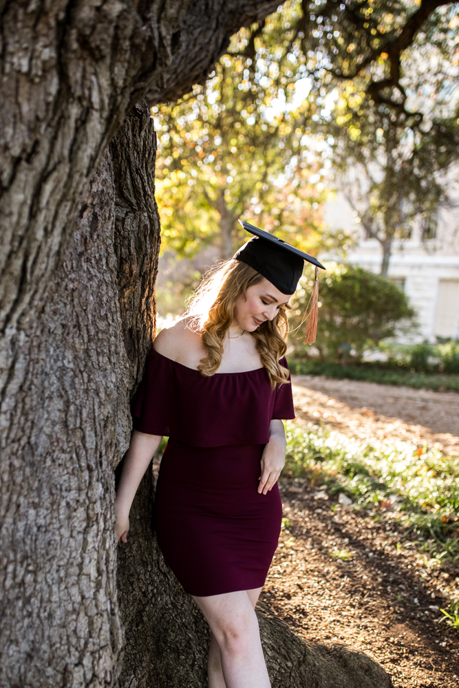 Girl senior portrait at Sorin Oak on St. Edward's University campus. Photo by Erin Reas Austin, TX photographer