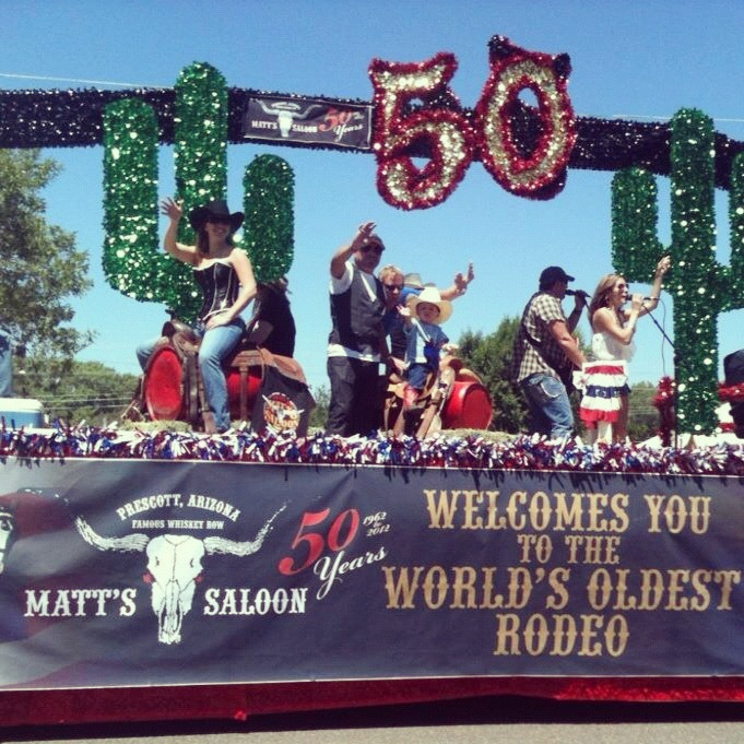 Matt's Saloon float for The Prescott Rodeo Parade