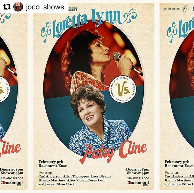 Mark Your Calendar's Nashville || February 9th || The Basement East   #Repost @joco_shows ・・・ Three Weeks Away!!! Who is ready for @carlandersonmusic @allen_thompson @laycblevins @kiannamartinez @after_violet @coreyalexanderleal and @jamesethanclark to take on Patsy Cline and Loretta Lynn at @thebasementeast Presented by @joco_shows @housequakenash and sponsored by @nashvilleunsigned