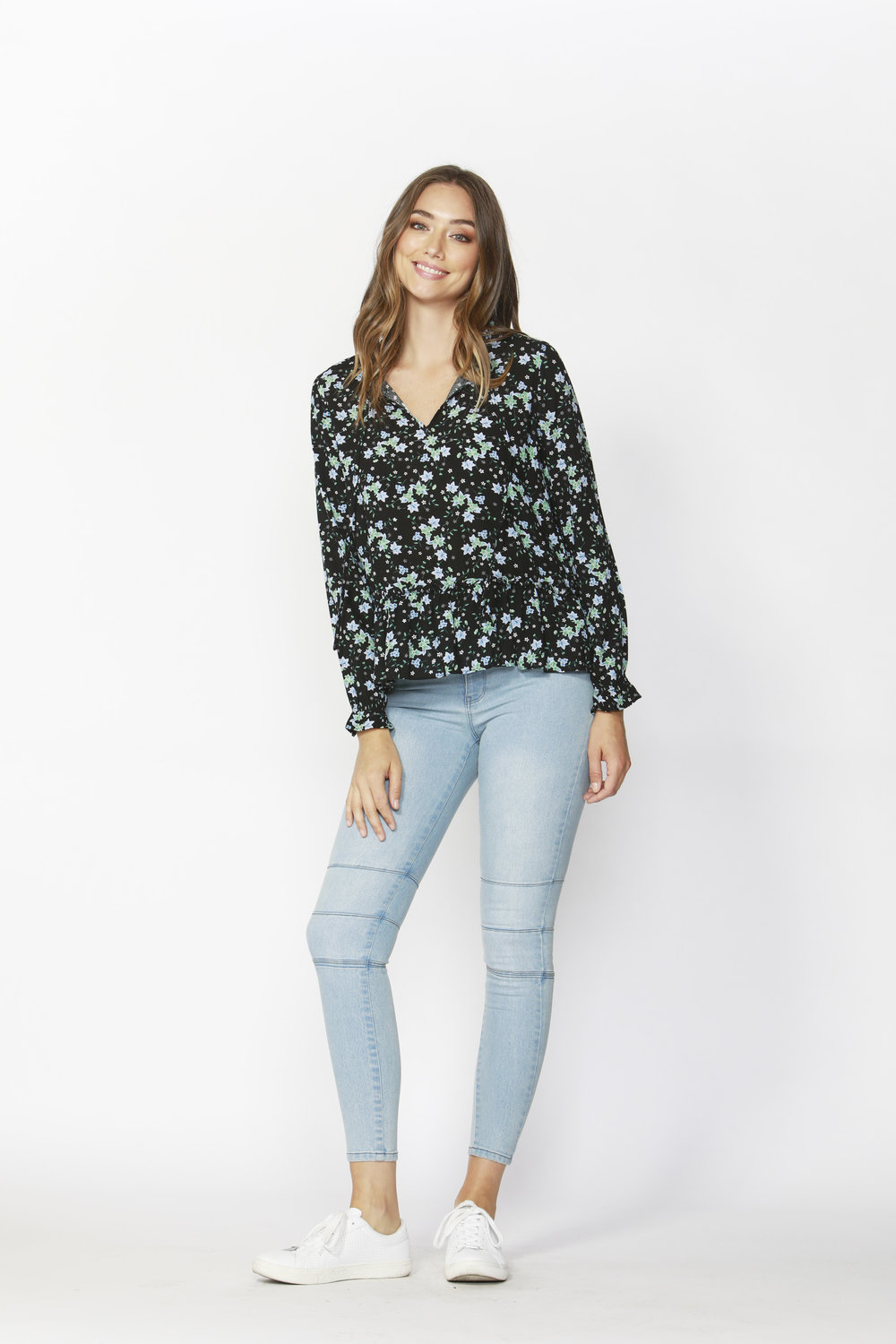 Winter Forest Frill Blouse (Winter Forest) - $65