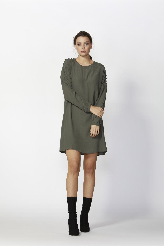 Flora Buttoned Sleeve Dress (Khaki)  - $145
