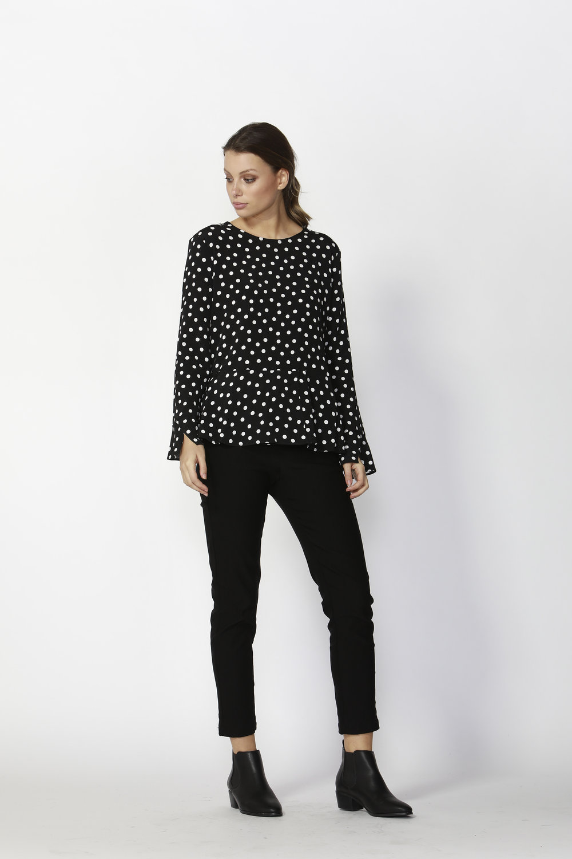Dee Polka Dots Peplum Blouse (Polka Dot)  -$99.90