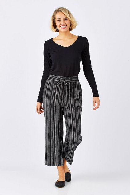 Fate Britt Wide Leg Pants (Black/White Stripe)