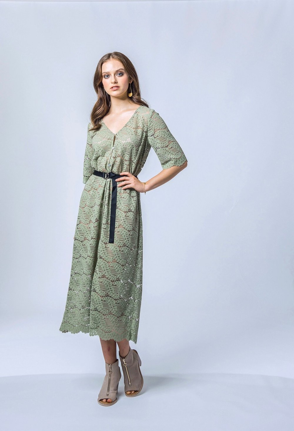 Tuesday Label - Hazel Midi Dress (Sage Lace)