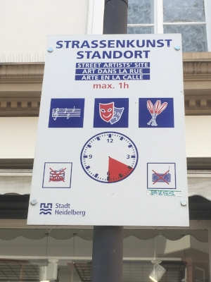 Example of a street music sign in Heidelberg