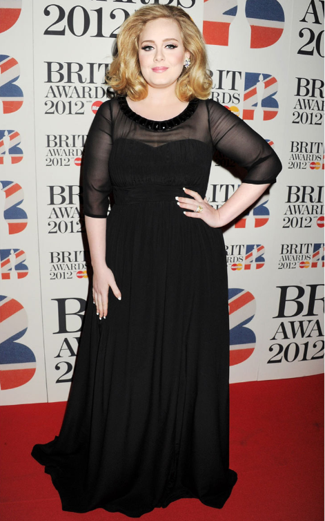 At the 2012 BRIT Awards wearing Burberry Prorsom.
