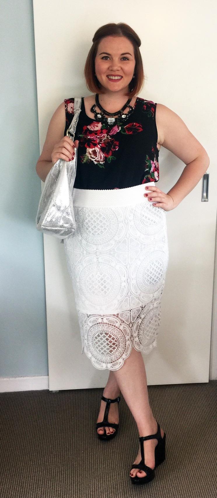 Urban Precinct tunic dress from Farmers, K-Mart skirt, Country Road shoes, Minx bag.