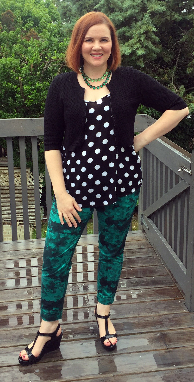 Necklaces from Dames a la Mode, Veronika Maine cardigan, ASOS Curve camisole, Lulu Lemon pants, Country Road wedges.