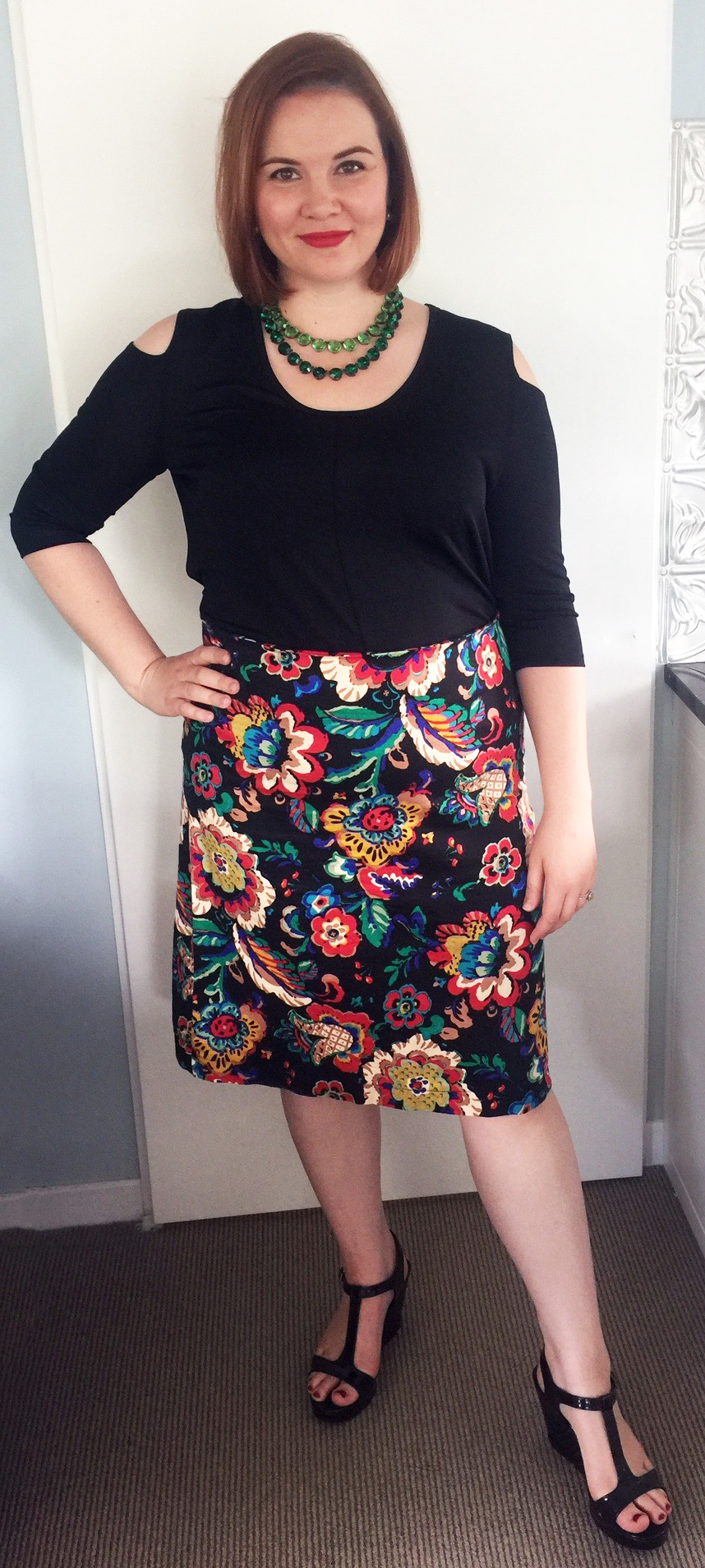 Witchery top, Jacki Peters skirt, Country Road shoes and Dames a la Mode necklaces.