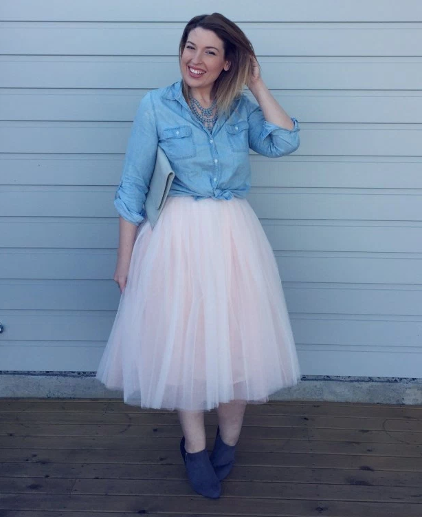 Jo from fashion blog icurvy rocking her tulle skirt, LOVE this look!