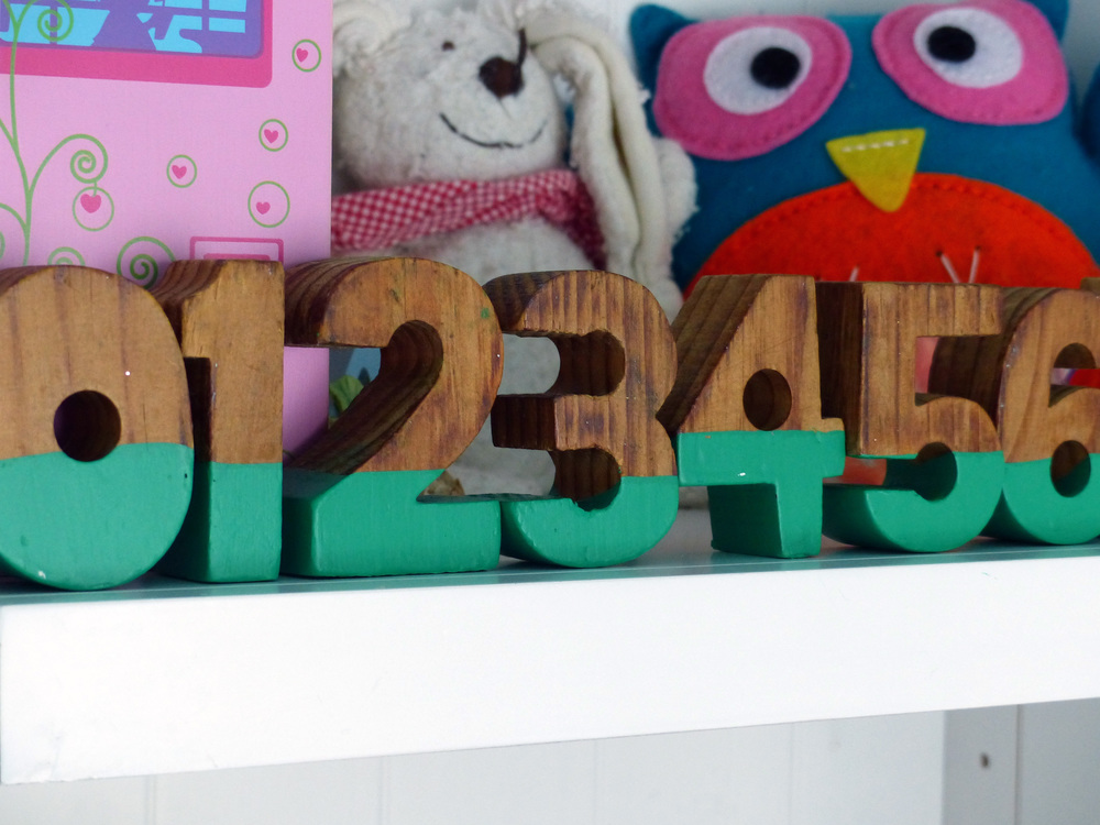 Dipped wooden numbers