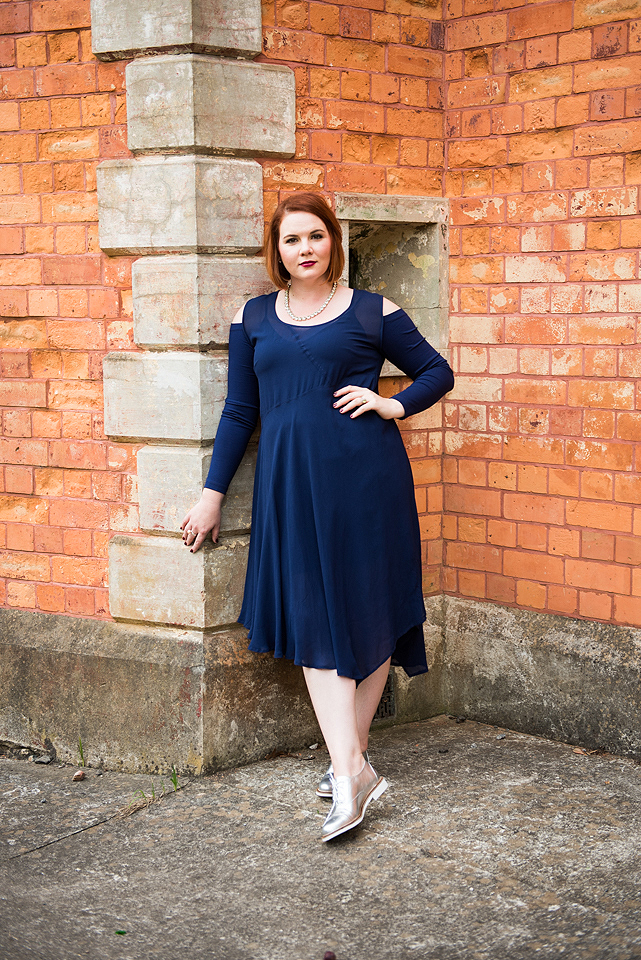Cold shoulder blue plus size dress