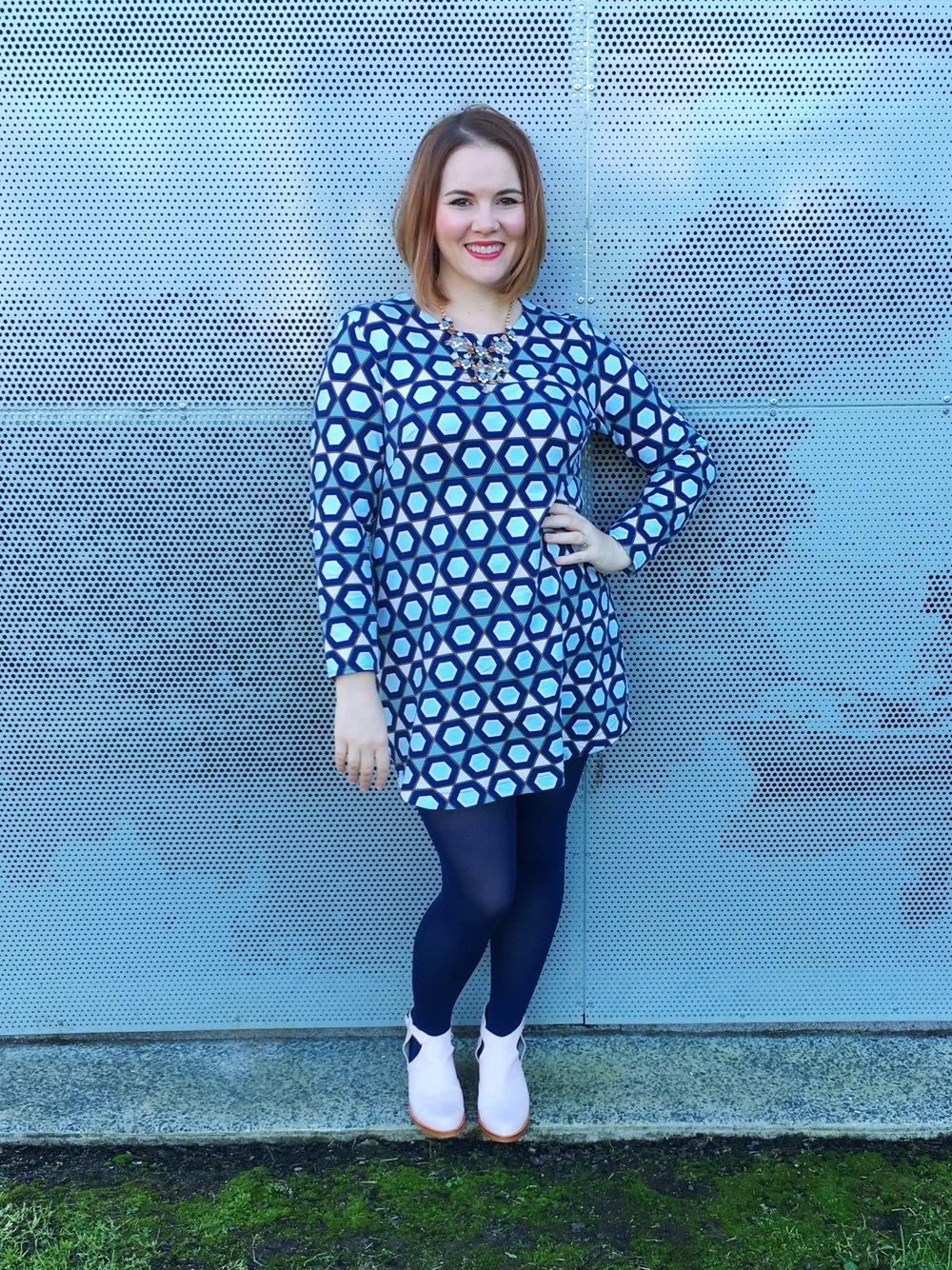 Hexagon Print Dress