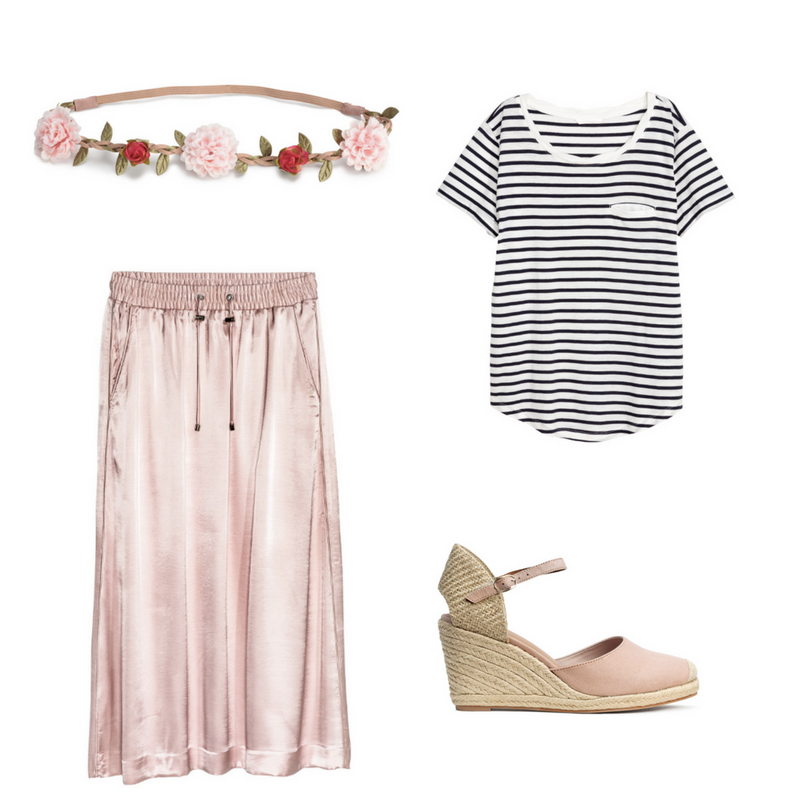 Satin Skirt $69.99, Sizes 4-16  -  Hairband with Flowers $7.99  -  Jersey Top $14.99, Sizes XS-XL  -   Wedge Heel Espadrilles $49.99