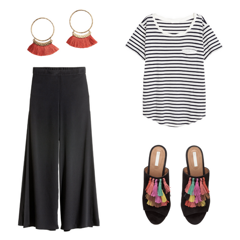 Wide Trousers with Slits, $39.99 Sizes 4-18  -  Jersey Top $14.99, Sizes XS-XL  - Tassel Earrings, Sold Out - Tassel Shoes, Sold out