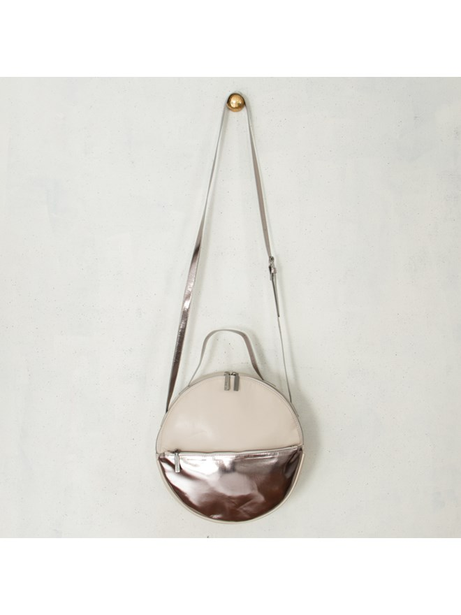 Adorne Silver Metallic Round Bag