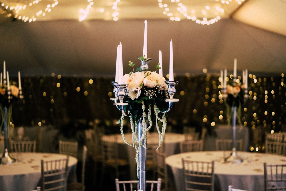 Candelabras in The Normans Marquee. Photo by www.sevenpoints.uk