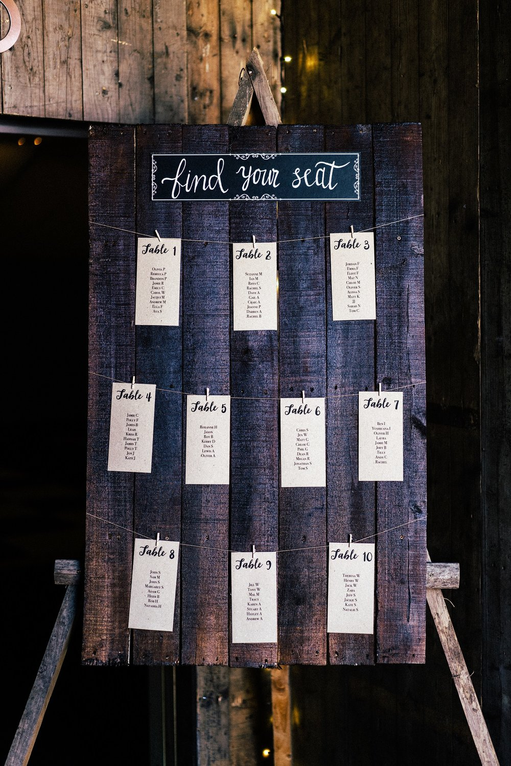 Rustic table plan at The Normans Photo by www.sevenpoints.uk