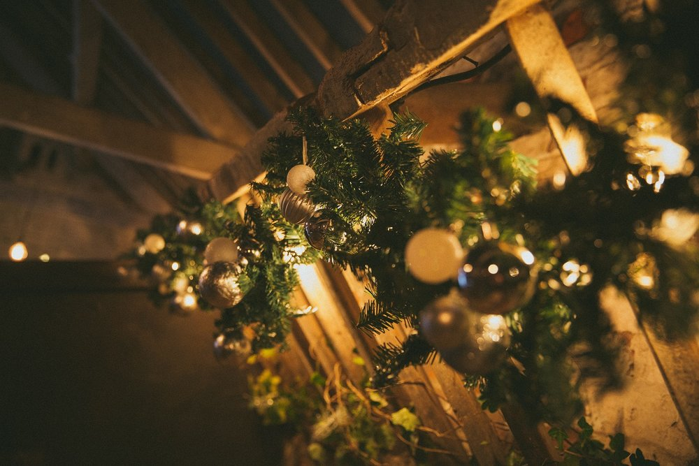 Festive wreaths at The Normans Wedding Venue Photo by www.cliquevisuals.co.uk
