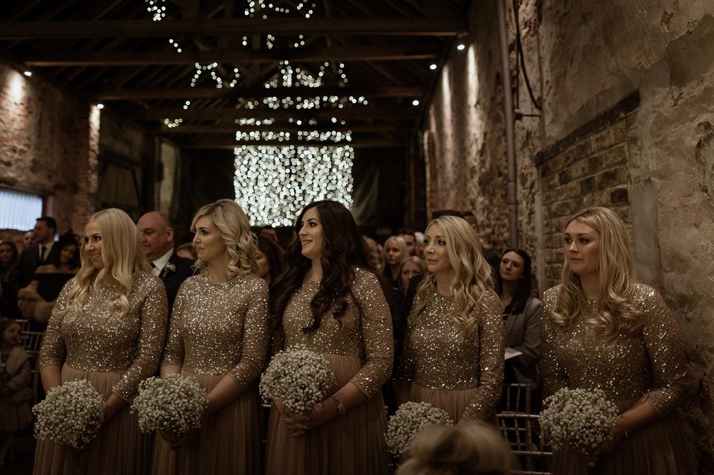 Winter bridesmaids at The Normans Photo by Luke Bell Photography