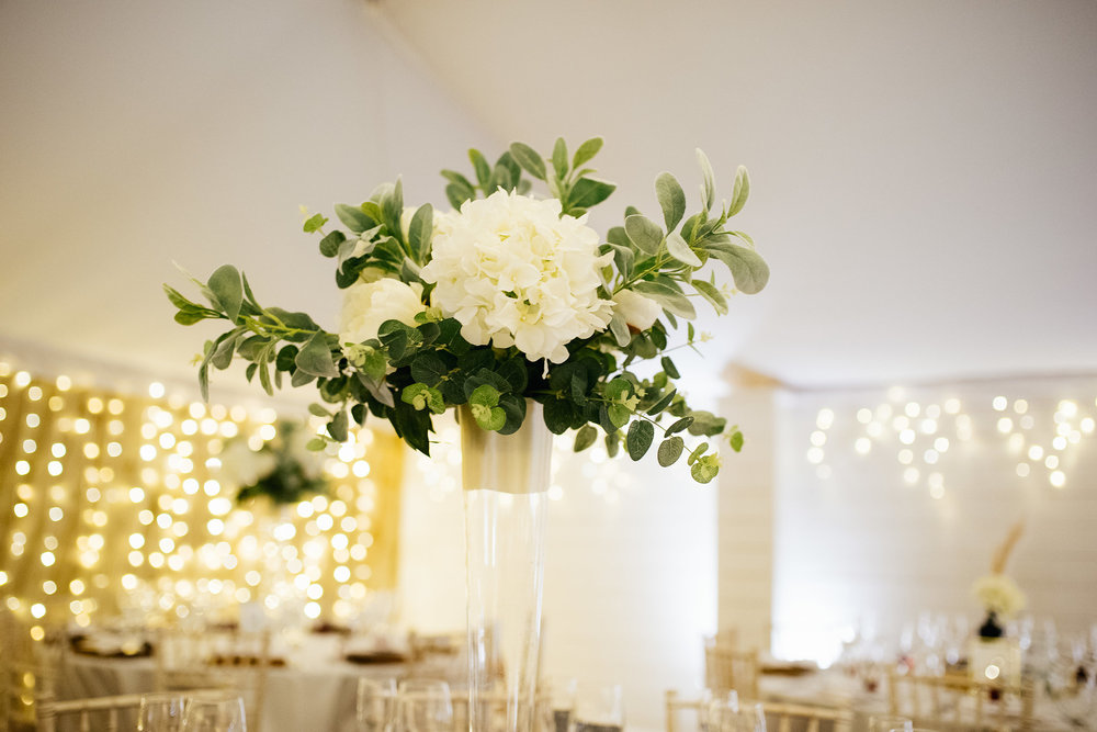 Chic centerpieces at The Normans Photo by Jules Barron