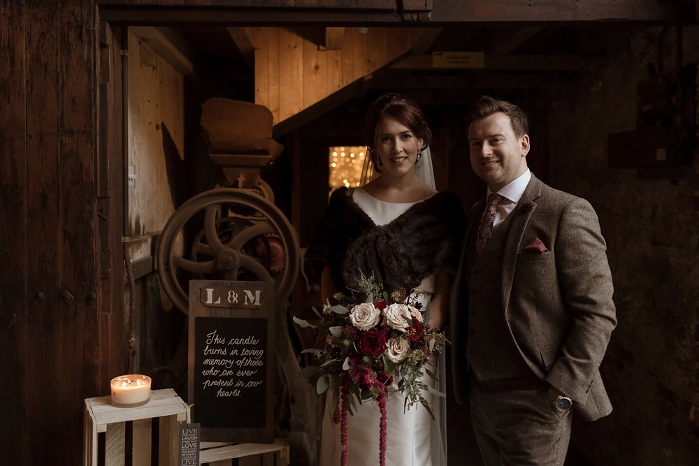 Laura & Mark in the Ceremony Barn at The Normans - photo by Luke Bell.jpg