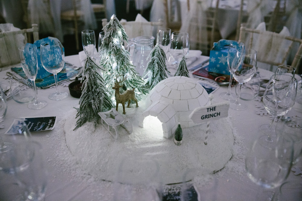 Stunning snowy table centrepieces greet guests at The Normans