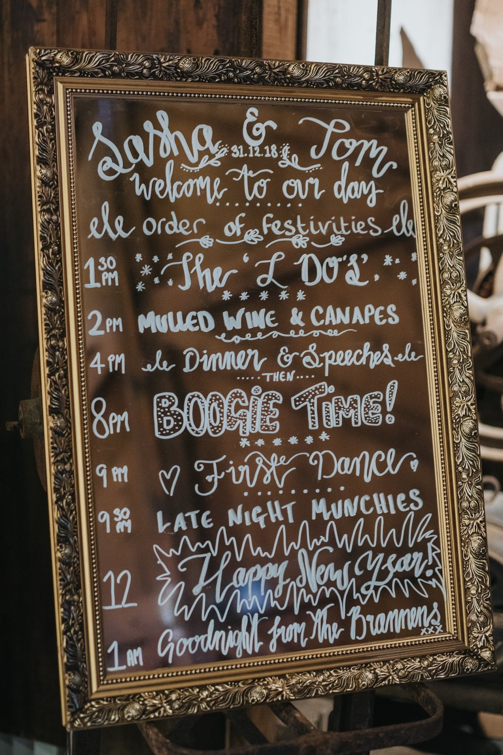 A fantastic way to show guests the order of the day. Photo by Bloom Weddings