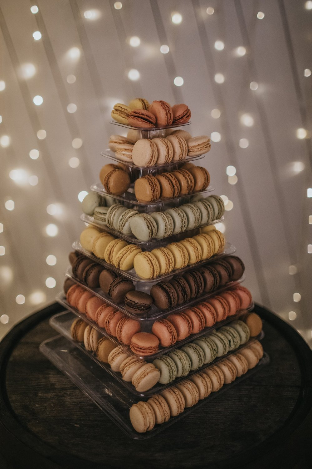 Marvellous macaroons in place of the wedding cake at The Normans. Photo by Bloom Weddings