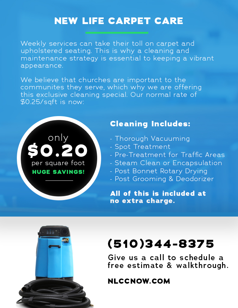Carpet Cleaning Oakland | New Life Carpet Care | Church Cleaning Offer